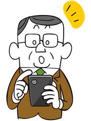 スマートフォンを操作する年輩のビジネスマン_気づき