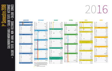 Calendrier 2016 modifiable - Semestre 01