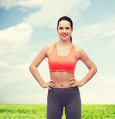 smiling teenage girl in sportswear