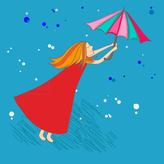 Girl with a color umbrella on the blue background