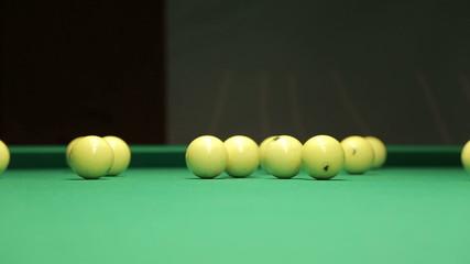 Start the game in billiards, kick starter yellow ball