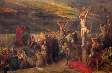 Brussels - The Crucifixion paint  in St. Jacques Church