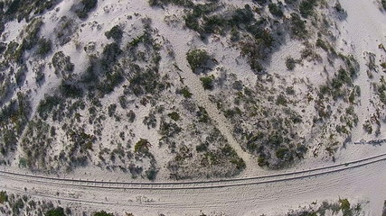 Railroad on Beach, aerial view from quadcopter