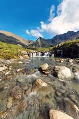 The beautiful Fairy pools on the Isle of Skye in Scotland