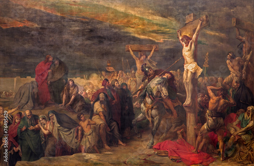 Foto op Canvas Monument Brussels - The Crucifixion paint in St. Jacques Church