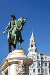 Monument to the first king of Portugal Don Pedro IV on the Liber