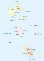 guadeloupe,dominica and martinique map
