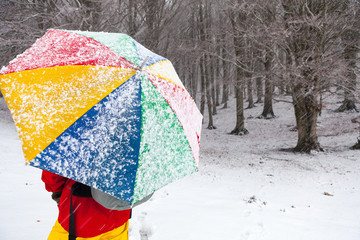 Man with colored umbrella under a snowfall