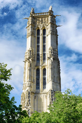 The Saint-Jacques Tower in the Gothic style with a belfry in Par
