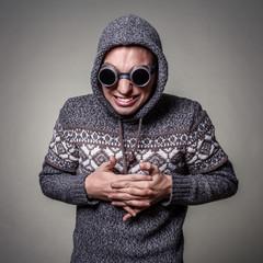 crazy guy in goggles