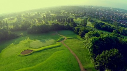 Aerial of golf course in London