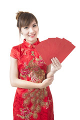Happy Chinese new year. beautiful young Asian woman
