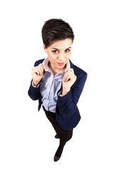 Confident business woman holding collar
