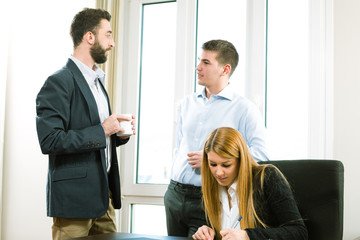 Young business people discuss the new project at office