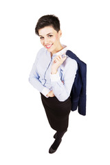 Business woman smiling holding suit