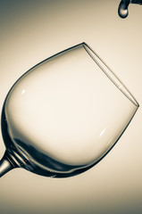 The glass of wine and the drop of water.