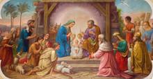 "Постер, картина, фотообои ""Vienna - Fresco of Nativity scene  in Erloserkirche church."""