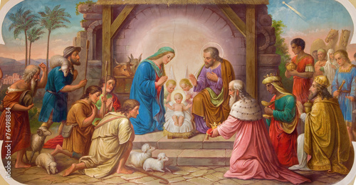 Fotobehang Wenen Vienna - Fresco of Nativity scene in Erloserkirche church.