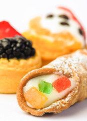 Mix italian  pastries with sicilian cannolo