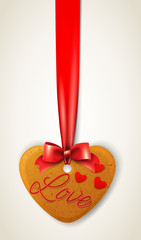 Happy valentines day heart cookie with ribbon and bow © rustamank
