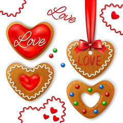 Set of Happy Valentine's day cookie with decorative elements