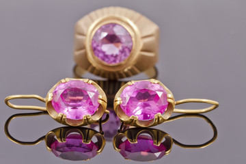 Set of old gold jewelry with precious stones