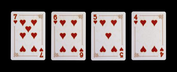 Spielkarten - Poker - Herz  im Spiel