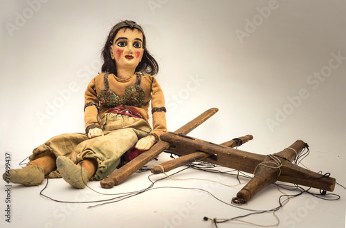 alte antike marionetten puppe - 76499437