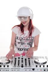 Happy Female Disc Jockey Mixing Music