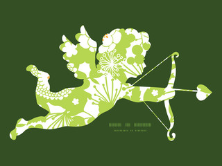 Vector green and golden garden silhouettes shooting cupid