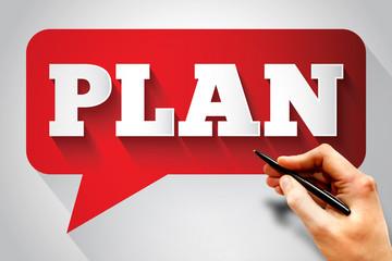 PLAN message bubble, business concept