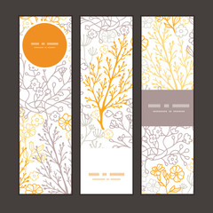 Vector magical floral vertical banners set pattern background