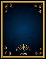Frame Vector-Blue and Gold Abstract