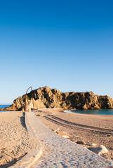 stone path to Sa Palomera rock, in Blanes ,Catalonia, Spain.