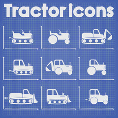 Tractor and Construction Machinery Icon set blueprint