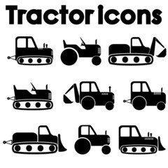 Tractor and Construction Machinery Icon set isolated