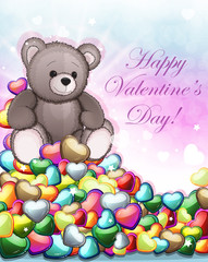 Teddy bear and Valentine hearts