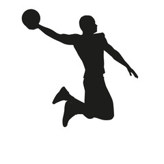 Basketball player isolated on white background, silhouette
