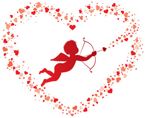 Cupid shooting hearts red