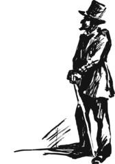 Gentlman in top hat. Ink sketsh for Dickens novel