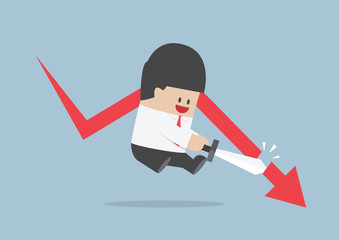 Businessman cut the falling graph, Stock market, Financial conce