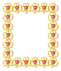 Jewelry frame with diamond shamrocks