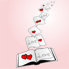 open book pages with hearts that fly