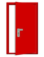 kırmızı yarım açık kapı tasarımı