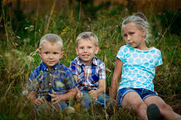three children on meadow in summer