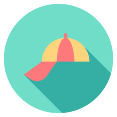 Round travel flat colour hat Icon with shadow