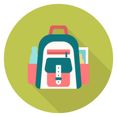 Round travel flat colour rucksack Icon with shadow