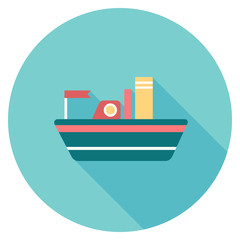 Round flat colour ship Icon with shadow