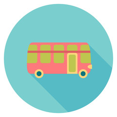 Round flat colour bus Icon with shadow