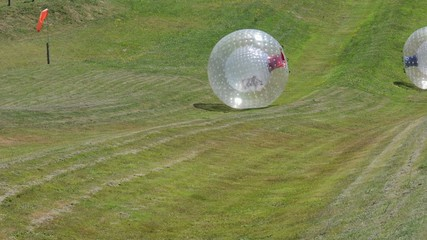 Ball rolling Zorbing in Rotorua, New Zealand.